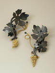 Suzan Rezac oxidized silver 18K gold grape earrings