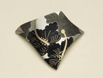 "Suzan Rezac. ""Hibiscus"". Pendant/brooch. Silver, shakudo, shibuichi, 18K gold. Constructed and inlaid."