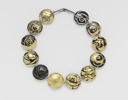 Suzan Rezac jewelry a dozen roses necklace inlay of gold, shakudo, shibuichi, brass, silver