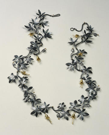 Suzan Rezac oxidized silver 18K gold vine necklace