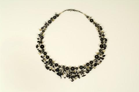 Suzan Rezac. Jewelry. Necklace. Oxidized silver, 18K gold, platinum
