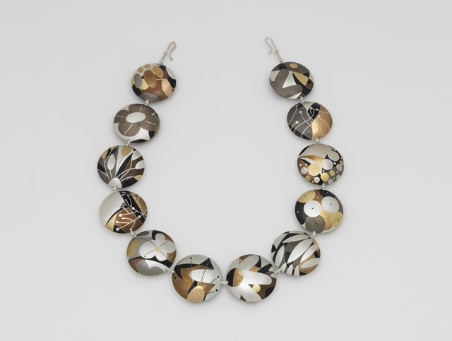 "Suzan Rezac. ""Indian Summer"". Reversible necklace. Silver, bronze, shibuichi, shakudo, copper, nickel silver, brass, 18K yellow and red gold."