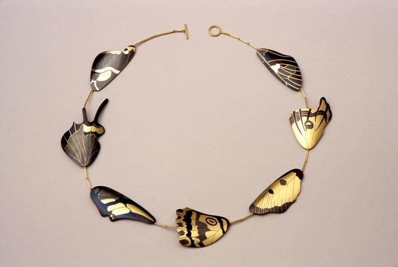 "Suzan Rezac. Jewelry. ""Butterfly Wings"". Necklace. 18K gold, shakudo, shibuichi. Inlay."